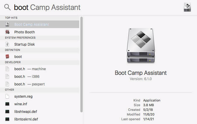 launch boot camp assistant software