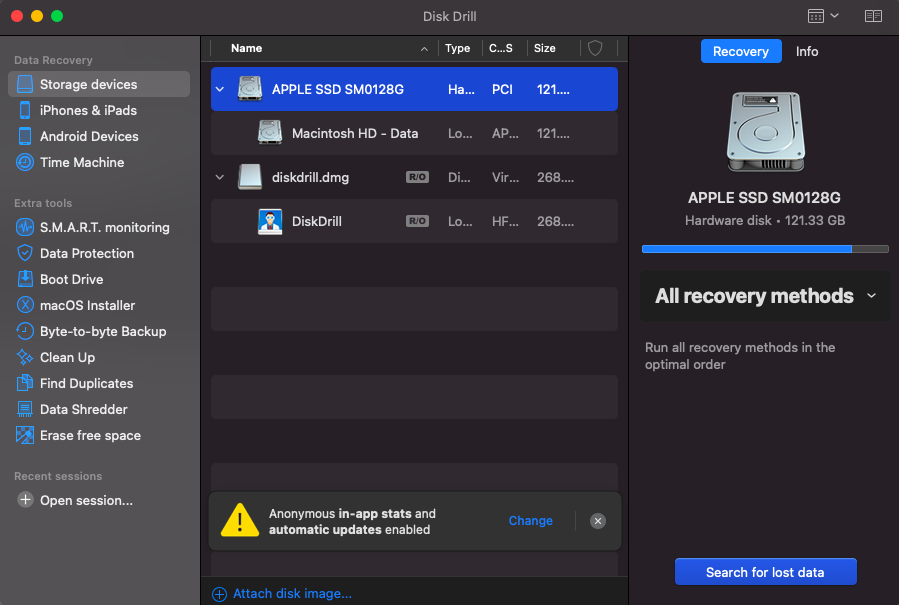 select macos drive to scan disk drill