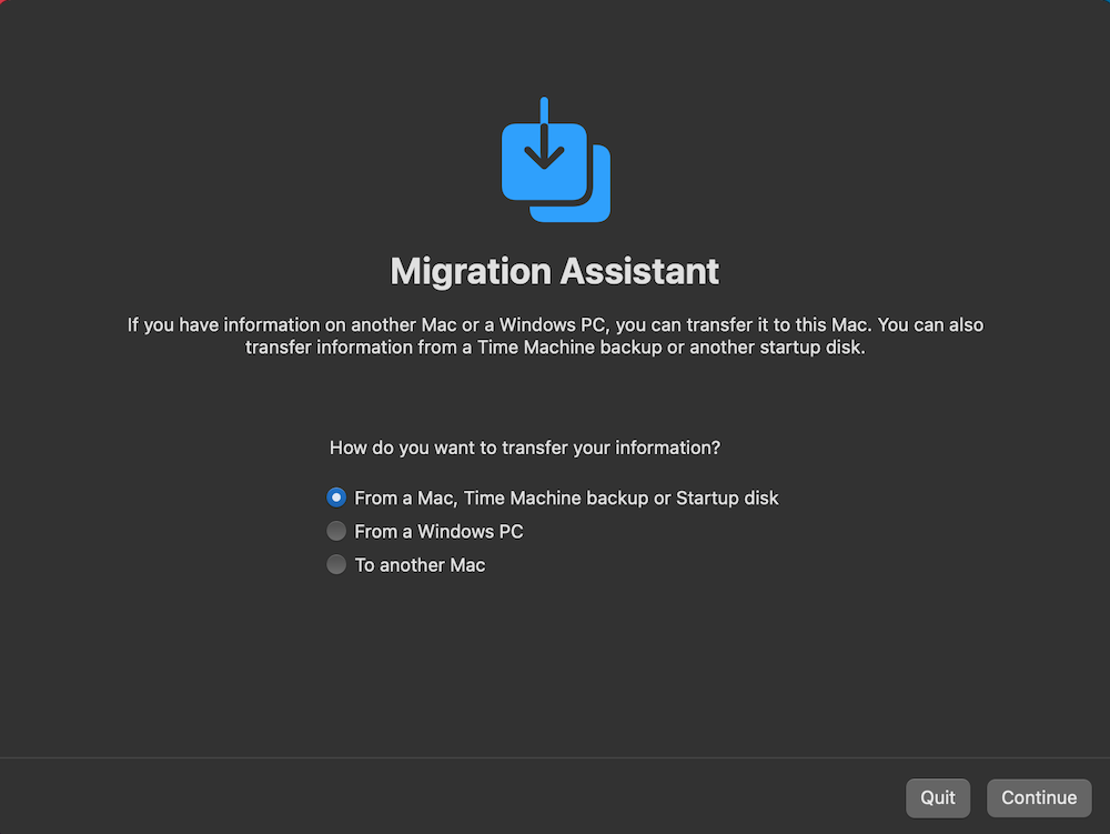 how to use migration assistant to recover from time machine backup